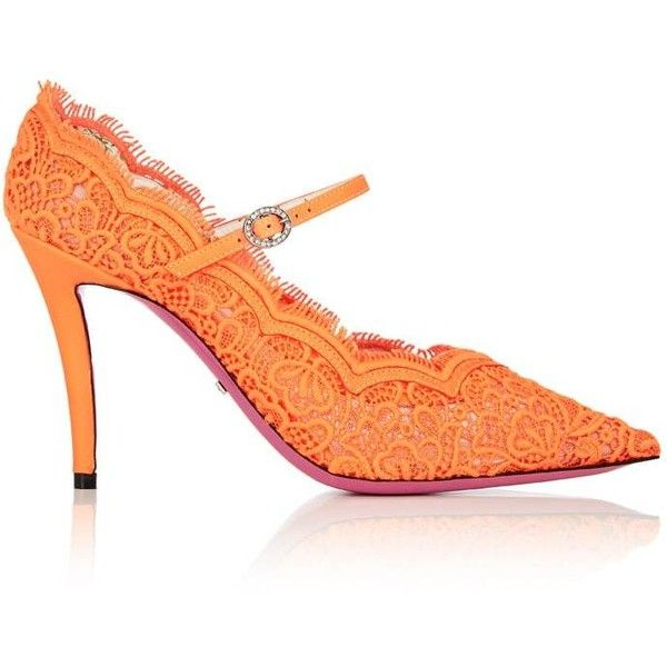 Gucci Women's Virginia Lace Mary Jane Pumps ($980) ❤ liked on Polyvore featuring shoes, pumps, orange, pointy-toe pumps, lace shoes, print pumps, orange pumps and maryjane pumps