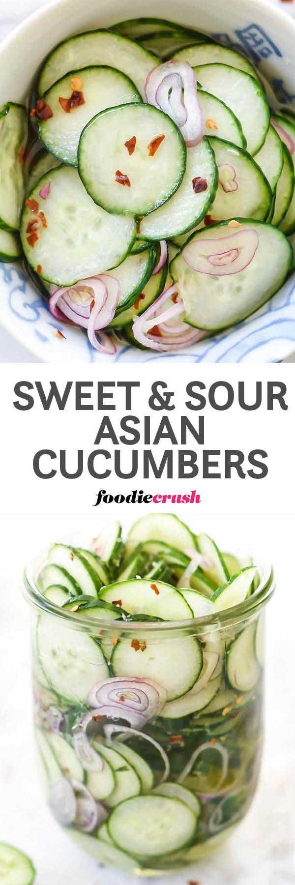 Healthy Thai Cucumber Salad Recipe foodiecrush.com | Asian Pickled Cucumbers Recipe | Rice Vinegar Pickled Cucumbers | Easy Pickled Cucumbers | Asian Pickles Recipe | Sweet and Sour Asian Pickles Cucumbers foodiecrush.com