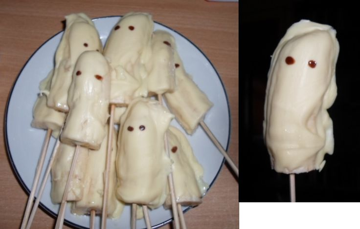 Ghost bananas. (Bananas dipped in melted white chocolate with eyes made of chocolate sauce.) Perfect for Halloween.
