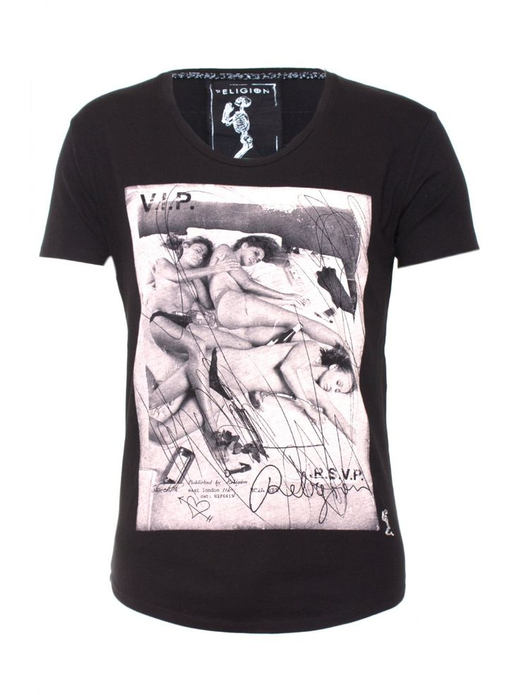 Religion Clothing T-Shirt Party Scoop Neck in Jet Black