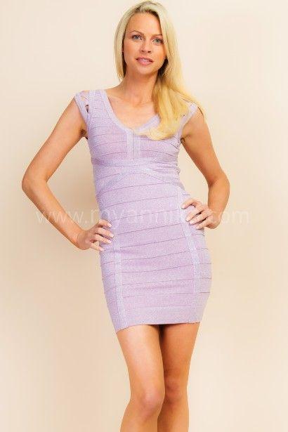 'Diva', Shimmery Purple V-Neck Cut-Out Sleeves Sexy Dress Annika - Bandage Dresses | Celebrity Party Dresses | Herve Leger Dresses Dress detail www.myannika.com