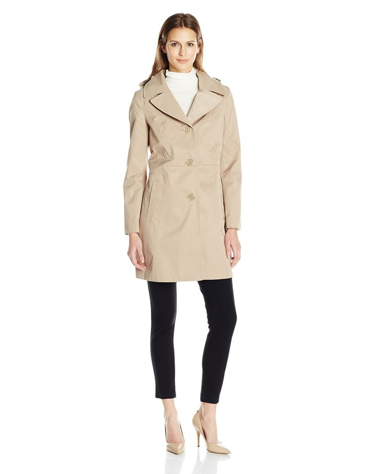 "Anne Klein Women's 34"" Mid Length a-Line Single Breasted Raincoat, British Khaki, S"