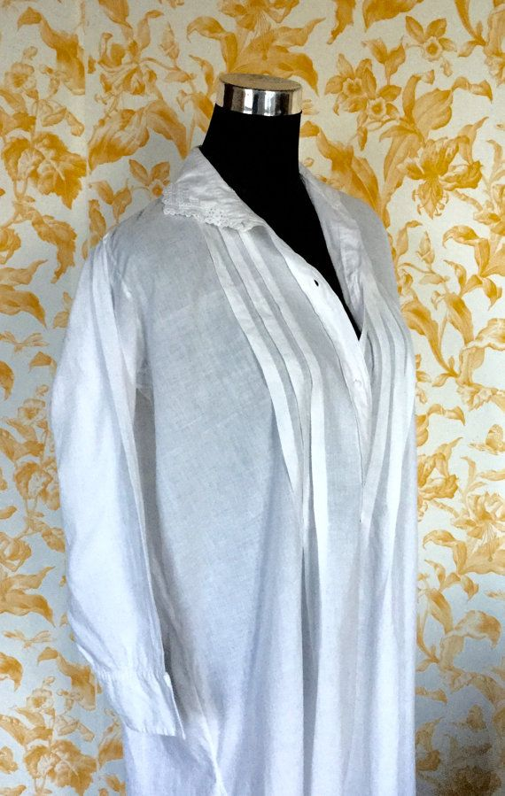 Pure white cotton French antique long nightdress / gown with hand stitched lace detail on collar