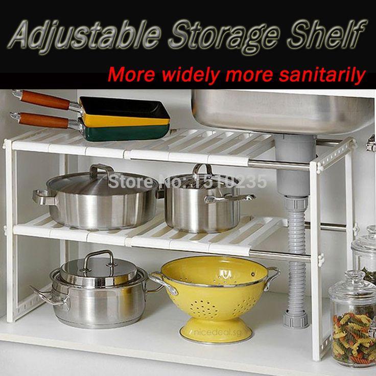 Cadeau de noël! Cuisine polyvalent rack de stockage pour pan télescopique étagère dans l'évier poêle organisateur tablettes support pour cuisine(China (Mainland))