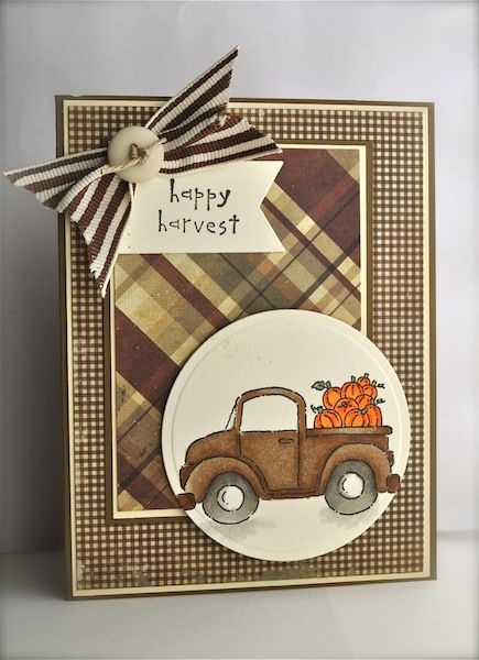 handmade card from Cardolina Scrapolina ... Fall theme ... old truck piled with pumpkins ... luv rich browns in the gingham print and the brown plaid papers ... lovely card ... Stampin' Up!