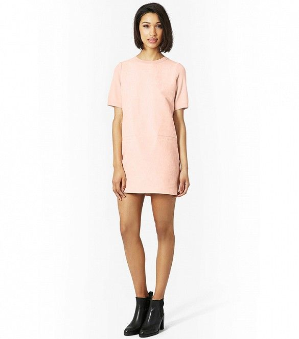 Topshop Suede Front Shift Dress in Nude