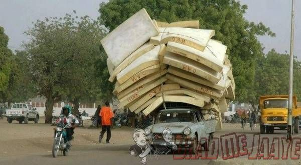African People Car Load Funny Picture