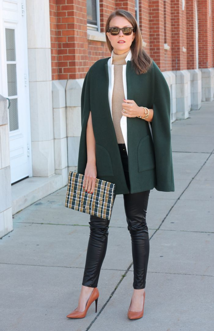 Wool cape + leather pants #allwrappedup