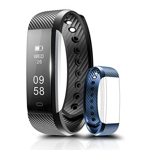 Fitness Tracker Coffea C2 Activity Wristband  Bluetooth Wireless Smart Bracelet Waterproof Pedometer Activity Tracker Watch with Replacement Band for IOS  Android Smartphone BlackBlue strap * For more information, visit image link.