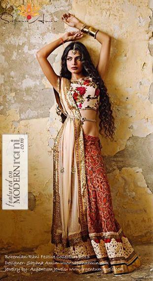 Bohemian South Asian Bridalwear Lengha - more inspiration at @Abbey Adique-Alarcon Phillips Regan Truax://www.ModernRani.com
