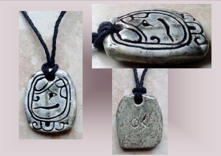 Mayan OK' Dog Ceramic Necklace Mesoamerican Tzolk'in Day Sign Amulet Clay Pottery Pendant
