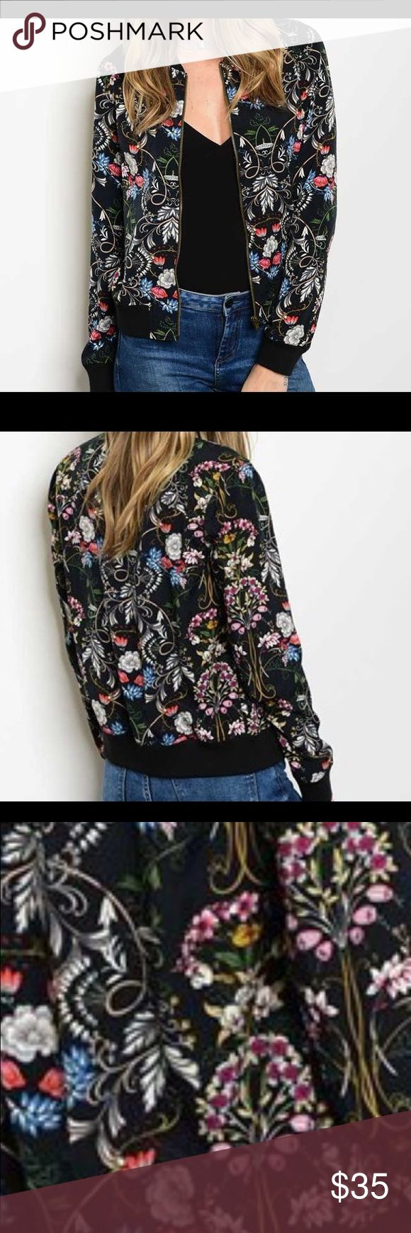 SHIPS 29th! Gorgeous black floral bomber jacket! Long sleeve zipper front closure floral print bomber jacket. Beautiful colors Jackets & Coats
