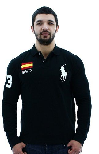Polo Ralph Lauren Spain Men\u0026#39;s Polo Custom Fit Mesh Long Sleeve Shirt Black Size L Polo