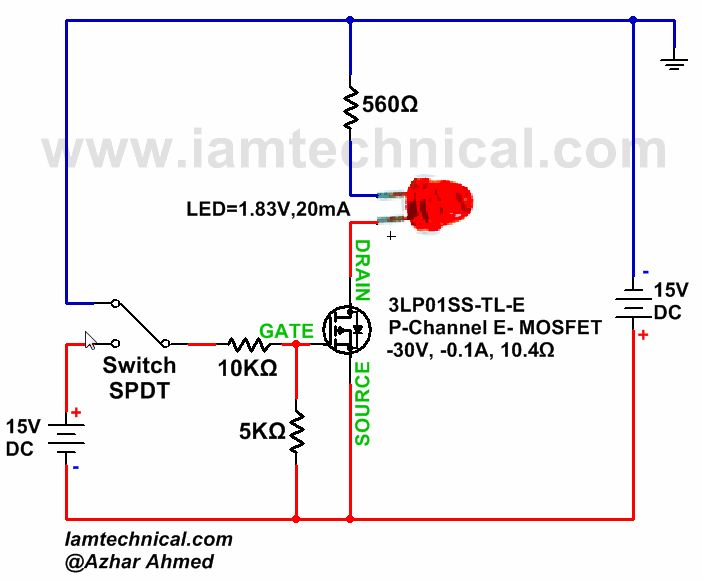 P-Channel E-Type MOSFET Switch Gate to Source Voltage Positive and Negative   IamTechnical.com