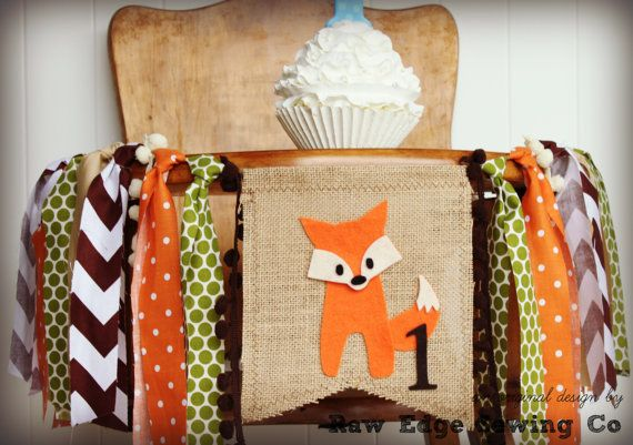 FOX Birthday Banner Highchair High Chair Party by RawEdgeSewingCo