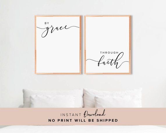 Bible Verse Wall Art By Grace Through Faith Christian Wall Etsy Bible Verse Wall Art Printable Wall Art Quotes Custom Quote Print