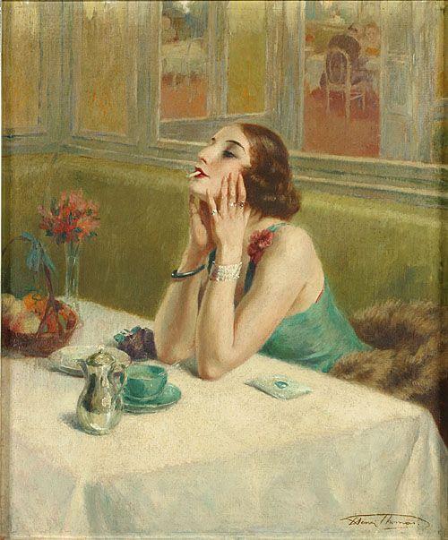 Henri Thomas (1878-1972) - Dame dans un café, Huile sur toile
