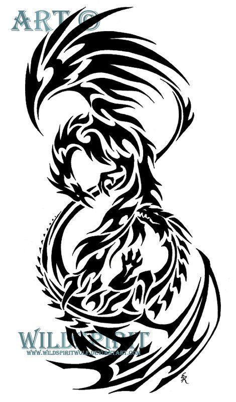 Phoenix Dragon Tribal Tattoo By WildSpiritWolf On DeviantART - For my friend DOnna