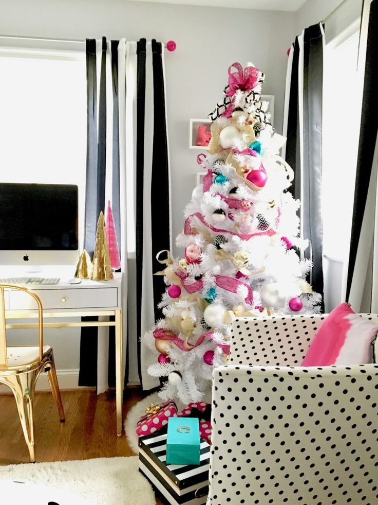 black gold and pink Christmas decorations and wrapping | meme-hill-black-white-christmas-tree-teen-room-pink-ornaments-raymour ...