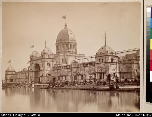 The #Melbourne Exhibition Building had an impressive lake, 1880.