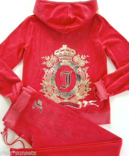 Juicy Couture Velour Cameo Garden Hoodie and Juicy Couture Velour Track pant Red