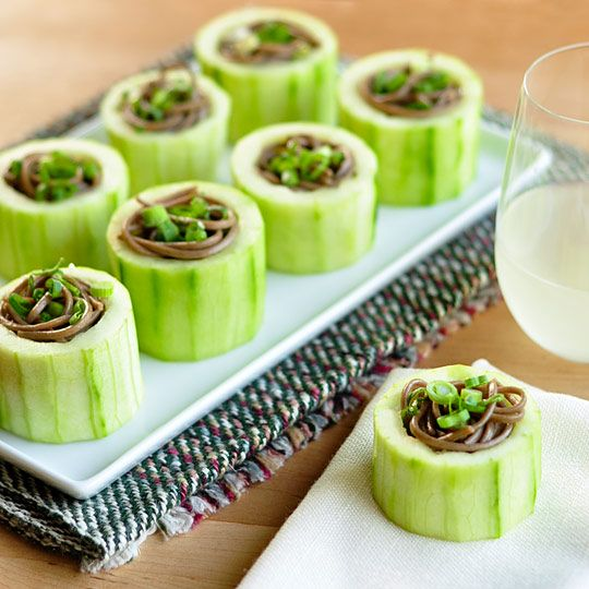 Soba in cucumber cups: Tonic Cocktails, Chill Soba, Fun Recipe, Cupa Perfect, Soba Noodles, Perfect Appetizers, Cucumber Cupa, Cucumber Cups, Cocktails Parties