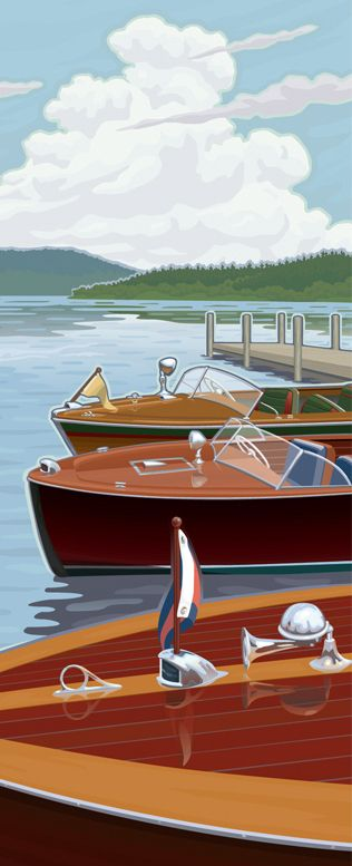 Hagerty Classic Boats by Mitch Frey, via Behance classic boat, speedboat, water ski, sailboat, sailing, lake, dock, travel, poster, WPA, National Park, mountain, vintage, retro, family, vacation, wooden boat, insurance, antique