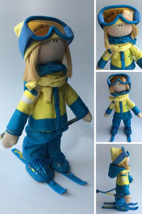 Ski doll Bambole Puppen Rag doll Handmade by AnnKirillartPlace