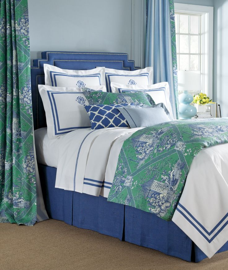Turkish Toile Laurel by Legacy Linens for Master Bedroom or Guest bedroom. Love blue and green color combination with crispness of white duvet.
