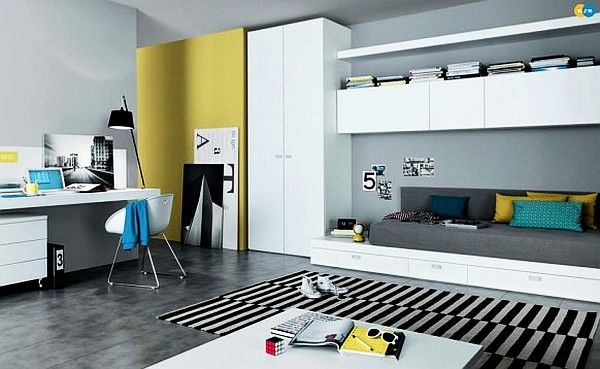 modern teenagers room - mustard, white and yellow furniture