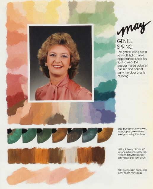"""I would call this a soft autumn palette rather than a """"gentle spring"""" because it has far too much brown and too many muted colors for spring."""