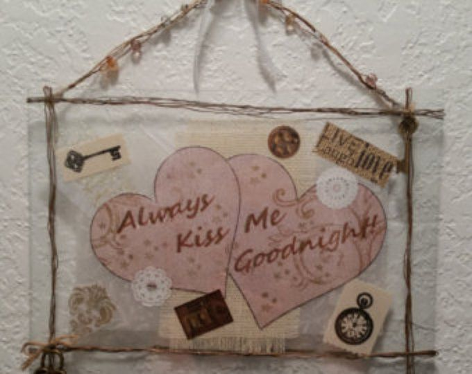 Kiss Me Goodnight - Copper Wire Rustic Wrapped Picture Art