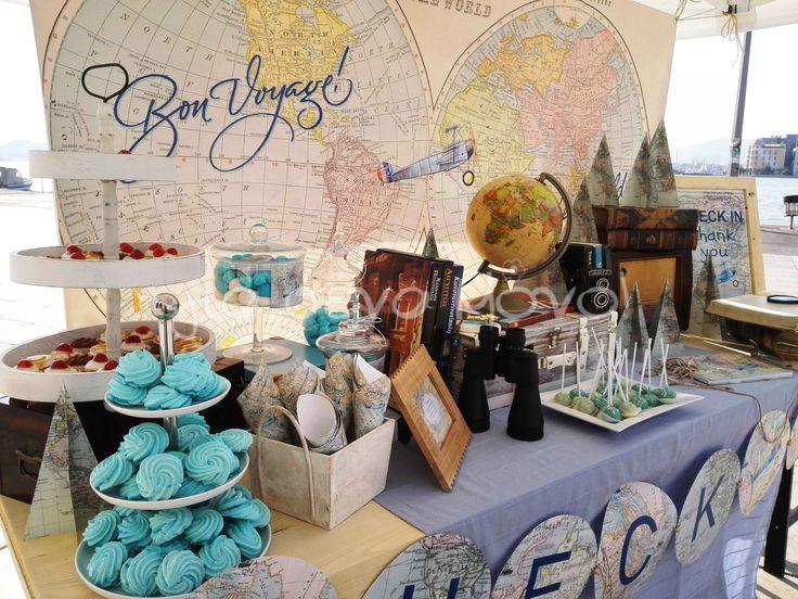 Μια ταξιδιάρικη βάπτιση για ένα μικρό αγόρι με πυξίδες, χάρτες και όμορφους προορισμούς!  #voyage #map #trip #destination #baptism #christening #boy #blue #vintage #partyideas #decoration