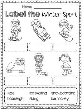 Winter Sports Enjoy these freebies from my Winter Olympics Unit! Check Out My FULL Winter Olympics Literacy Unit Here Includes: Match the Winter Sport page 2 coloring pages 2 writing pages Class Book Wordsearch