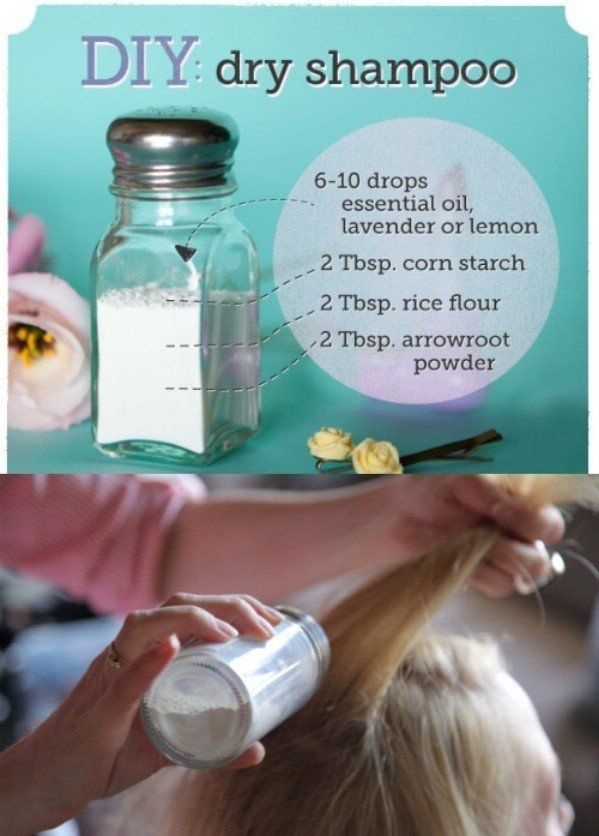Make Your Own Dry Shampoo - 40 DIY Beauty Hacks That Are Borderline Genius.. This works great if you have lighter colored hair. If you have darker hair use a glue gun to seal some of the holes so you don't get as much out. Then, once in the hair make sure to massage in before you add more by PearForTheTeacher