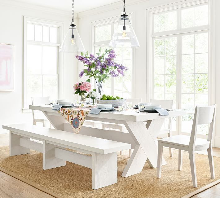 Perfect Pair Modern Farmhouse Extending Dining Table With Bench Menlo Chair Pottery Barn Dining Table Dining Table With Bench Modern Farmhouse Table