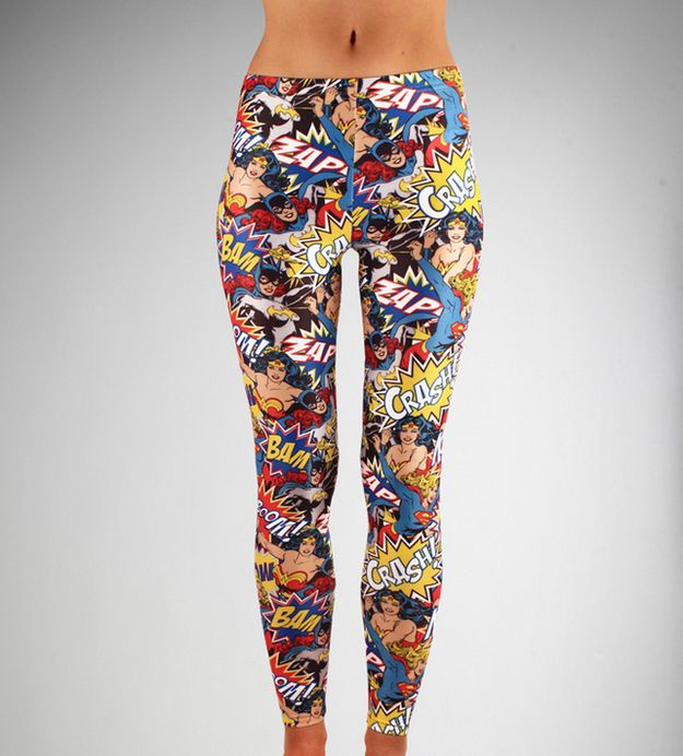 Superhero Ladies Leggings...don't judge me...I wouldn't wear them in public...but I would wear the crap out of them at home!!  Or maybe under a black dress with black boots so they only show at the knee...I think my class just flew out the window!