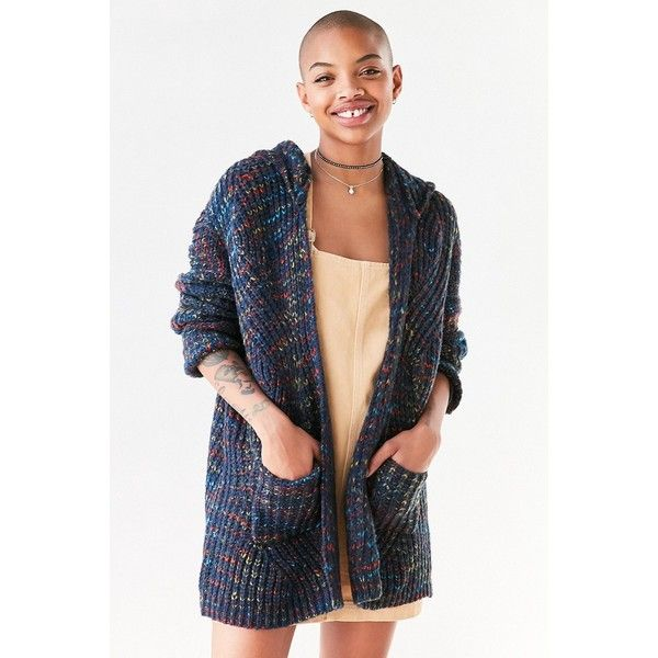 Ecote Rainbow Stitch Hooded Cardigan (115 CAD) ❤ liked on Polyvore featuring tops, cardigans, multi color cardigan, blue cardigan, colorful cardigans, cardigan top and ecote