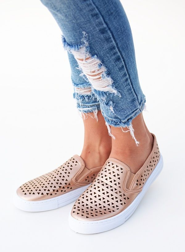 6a4321ee99a8 Laser Cut Rose Gold Sneaker - all sales final in 2019