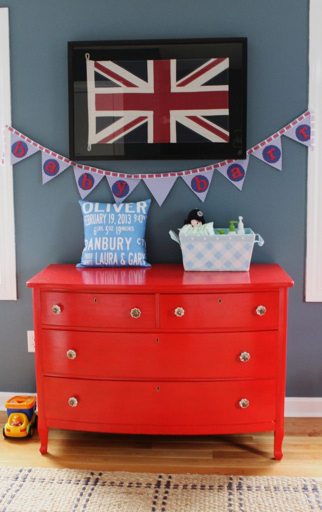 Bright Red Dresser in this British Nursery: London Themed, Fit, Nurseries, Red Dresser, Nursery Ideas, British Themed, Themed Baby, Baby Rooms, British Nursery