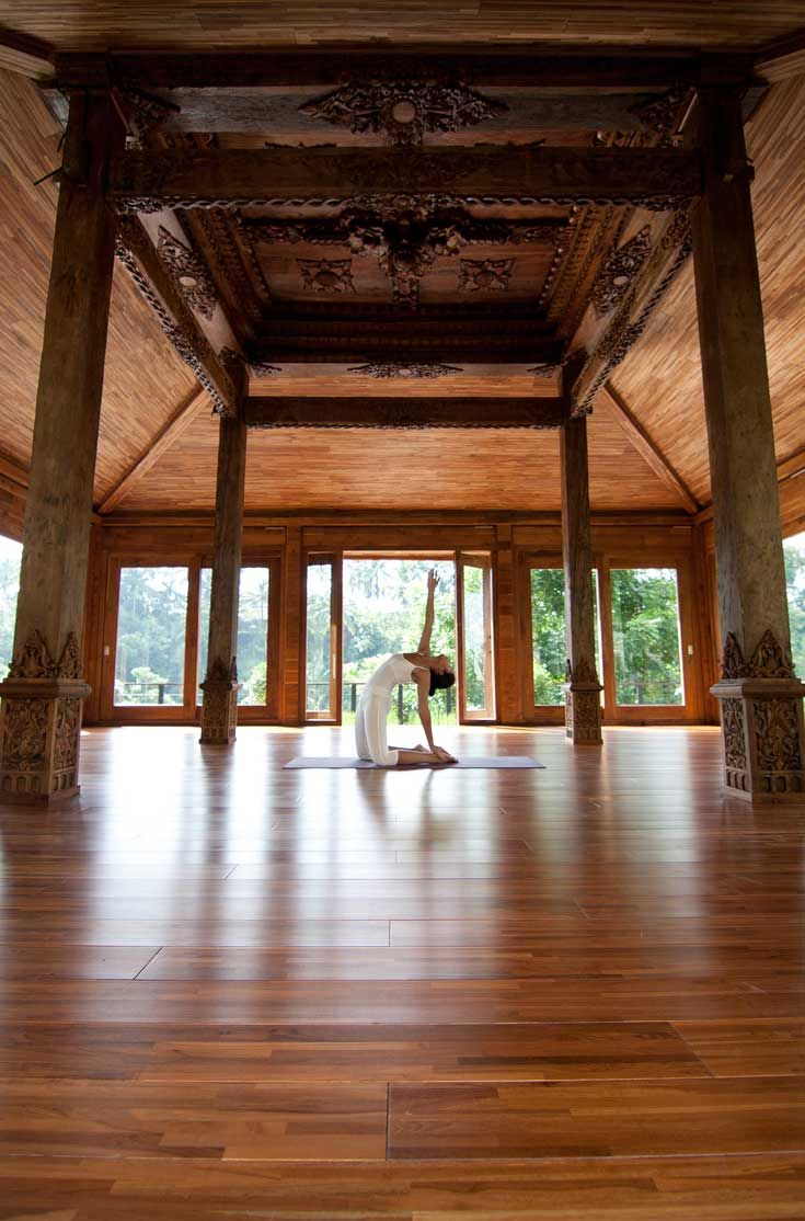 Kamandalu Ubud's yoga studio is a 100 year-old traditional Indonesian 'joglo' structure overlooking the jungle ravine. #Indistay | Bali, Indonesia