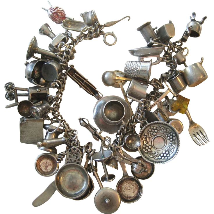 Loaded 1940's-50's Sterling ALL HOUSEHOLD ITEMS Silver Bracelet 47 Charms!!!..