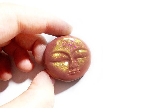 Pink Moon Face Dusty Moon Face Pink Full Moon Peyote