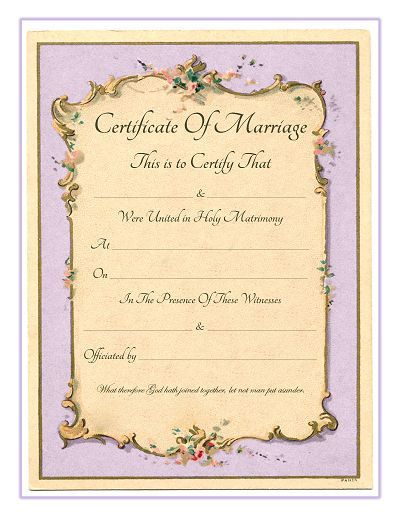 Keepsake Marriage Certificate - Free Printable - Vintage French Frame background