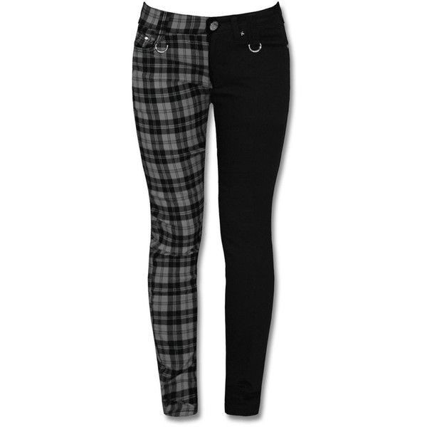 BANNED BLACK GREY CHECK SPLIT LEG SKINNY JEANS ($42) ❤ liked on Polyvore