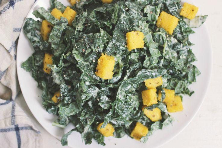 Creamy Kale Salad w/ Cracked Pepper Polenta Croutons – Gluten-free and Vegan