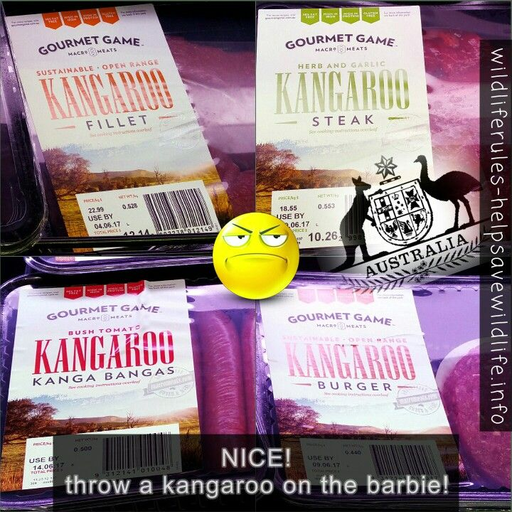 at a local supermarket.. When you visit #Australia, make sure you treat yourself to our natives. Especially the ones that are used on corporate logos and the coat of arms... NOT! . How is this allowed to happen? . AND don't feed your pets kangaroo. . #kangaroo #roos #sausages #steak #burgers #kanga #bangas  #donteatnatives #sad #macropod #wildlife #wildliferules #dontshootroos  #dontfeedyourpetskangaroo