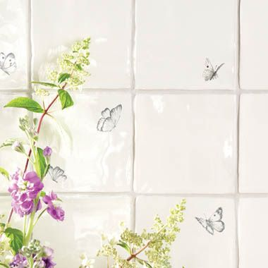 Beautiful Butterfly Tiles by The Winchester Tile Company. Available at Welby & Wright.