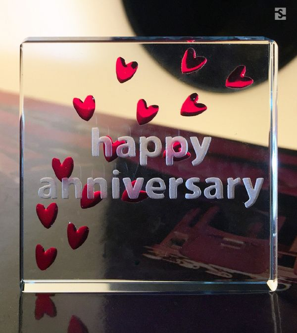 Happy Anniversary Hearts Glass Mini Token by Spaceform.