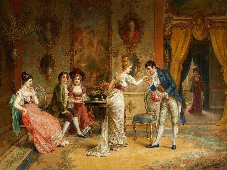 Flowers For M'Lady~ Franz von Persoglia ~ Gallant Scene In The Rococo Interior